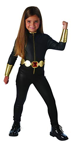Halloweenia - Mädchen Kinder Black Widow Deluxe Kostüm aus Avengers Assemble mit Einteiler, Gürtel und Armstulpen, perfekt für Karneval, Fasching und Fastnacht, 110-122, Schwarz