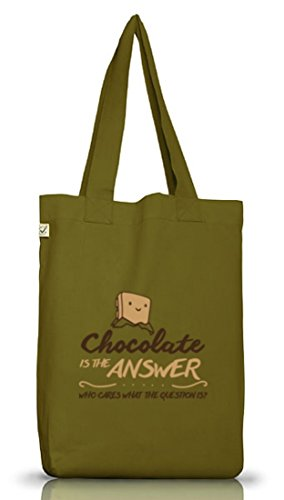 Shirtstreet24, Chocolate Is The Answer, Jutebeutel Stoff Tasche Earth Positive (ONE SIZE) Leaf Green