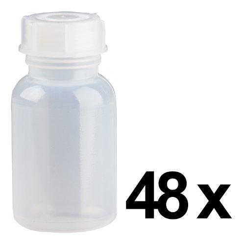 48 x 100ml Weithalsflasche / Laborflasche Naturfarben aus LDPE inkl. Schraubverschluss *** Weithalsflaschen, Laborflaschen, Plastikflasche, Kunststoffflasche, Plastikflaschen, Kunststoffflaschen ***
