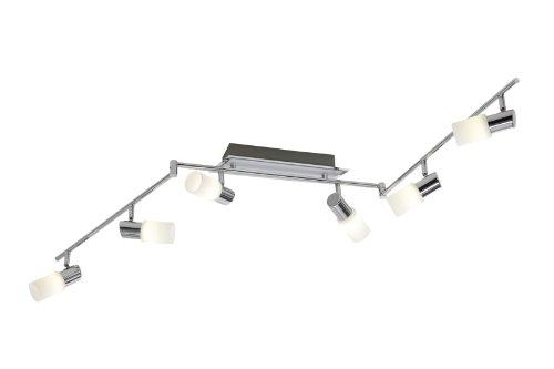 Trio-Leuchten LED-Schiene Aluminium gebürstet/chrom, Glas weiß gewischt, inklusiv 6x 5W LED, Breite: max. 150 cm 821410605