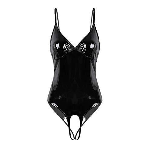 Schwarzen Mit Kostüm Trikots - FEESHOW Damen Glänzend Bodysuit Catsuit Trikot aus Leder mit Reißverschluss Stringbody High Cut Thong Clubwear S-XL Schwarz Ouvert L