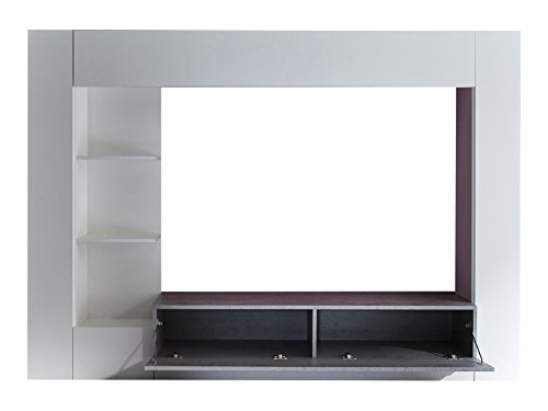 trendteam HY00135 Wohnwand TV Möbel Weiß, Absetzungen Beton Industry Nachbildung, Stellmaß BxHxT 209 x 156 x 42 cm - 3