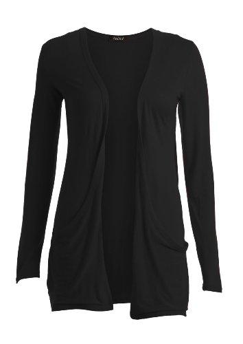 Baumwoll-jersey-strickjacke (PEPPER SODA Fast Fashion Damen Langarm Cardigan mit Taschen / (ML - EU (40/42), Black))