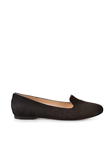 ShoeVita handgefertigte Loafer Damen Leder Slipper Schwarz & Lila Größe 33 - 45 Schwarz