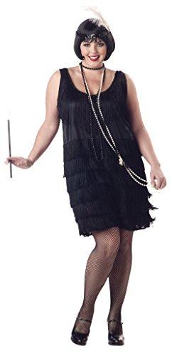 Unbekannt Aptafêtes - CS968915/Xxl - Damen-Kostüm für 20er-Jahre, Größe - Für Erwachsene Schwarz Flapper Kostüm Plus