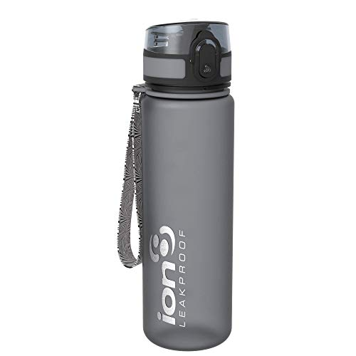 Ion8 - Bottiglia per l'acqua, a prova di perdite, senza BPA., Unisex, Leak Proof BPA Free,Frosted Grey, 500 ml