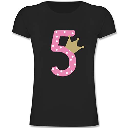 Geburtstag Kind - 5. Geburtstag Krone Mädchen - 128 (7-8 Jahre) - Schwarz - F131K - Mädchen Kinder T-Shirt -