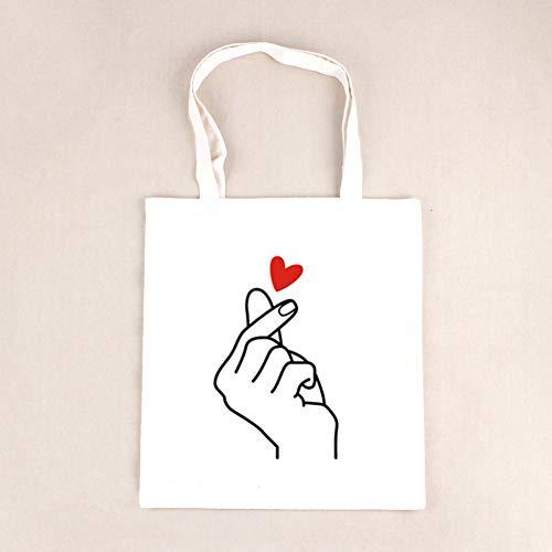 Herz Tote Handtasche (BOOREO Casual Canvas Tote Handtasche Frauen Cartoon Herz Gedruckt Umhängetasche Weiblichen Sommer Strandtasche Umhängetasche Dame)