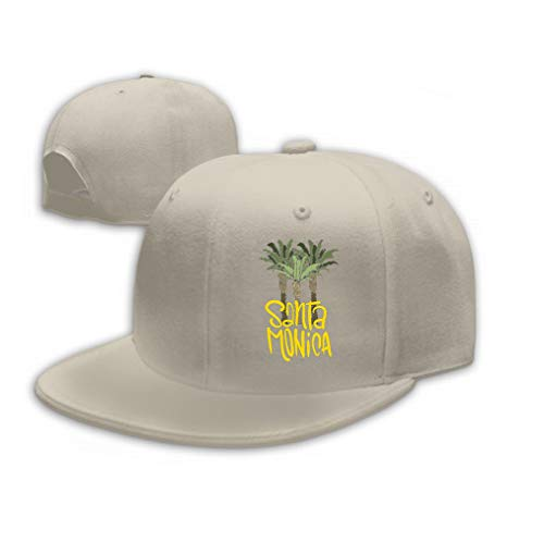 Xunulyn Classic Unisex Baseball Cap Adjustable Santa Monica California Design Palm Trees Logo Sign Sand Color - Stoff Santa Monica