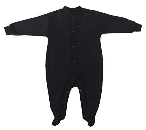 Pijama 100 % de algodón para bebé, unisex, color simple, para bebés de 0 a 24 meses negro BLACK BABYGROW Talla:80CM/12-15MONTHS