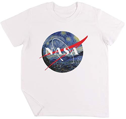 NASA Estrellado Noche Niños Chicos Chicas Unisexo Camiseta Blanco