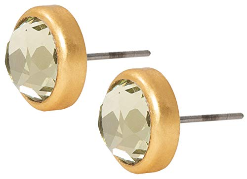Sence Copenhagen Damen Ohrstecker Gold Rund Grün Gold |Secret Garden 2019 Serie Celebration Earstuds Matt Gold Glasstein Vergoldet - K751 -