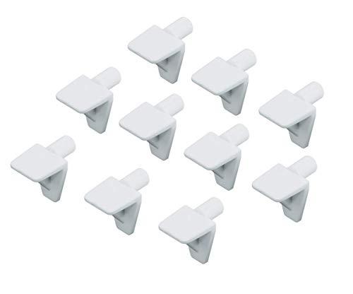 Gedotec Fach-Bodenträger Küche Regal-Halter zum Einstecken Regal-Halterung zum Befestigen - H3143 | Bohrloch Ø 5 mm | Kunststoff weiß | 10 Stück