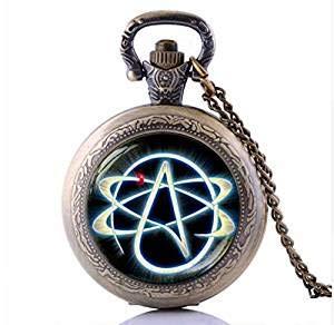 Taschenuhr, Bronze, Atheist-Symbol, Halsketten und Anhänger, keine Religion, Schmuck für Herren und Damen