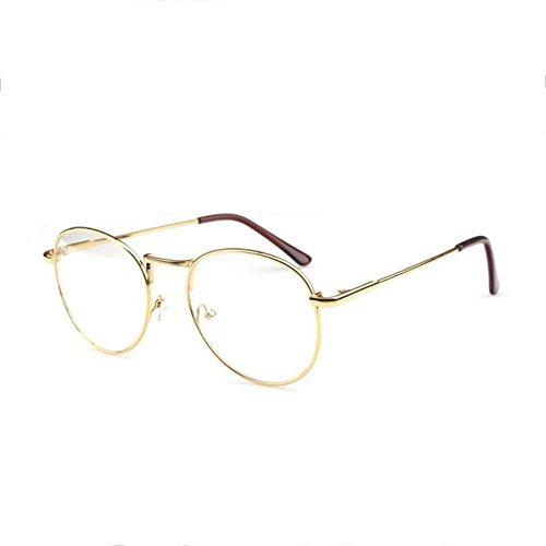 Z&YQ klar Linse Gläser Flieger Myopie schlanke Rahmen Vintage Schutzbrillen , gold