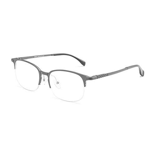New Aluminium Magnesium Halbrahmen Ultra hellblau Flache Spiegel Brillengestell Mode Hipster Männer Brille (Color : Black)