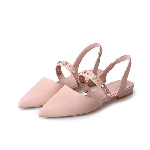 Frauen Sommer Perle Flache Sandalen Spitz Elastischer Riemen Slingback Sandalen Casual Hochzeitskleid Schuhe -