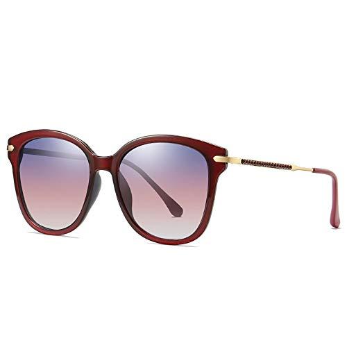 WULE-Sunglasses Unisex New Europa und Amerika Box polarisierte Sonnenbrille Damenmode Trend Brille uv400 Schutz eingelegten Kunststoff Diamant verlaufsglas Rahmen (Farbe : Red)
