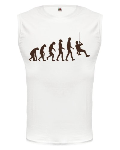 Tank Top The Evolution of climbing-M-White-Brown -