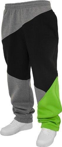 Urban Classics Herren Jogginghose Zig Zag Sweatpants TB286 Urban Fit, grey/black/limegreen, M
