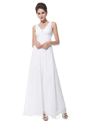 Ever-Pretty Robe de Soirée Femme Longue Col V pour Mariage 36 Blanc