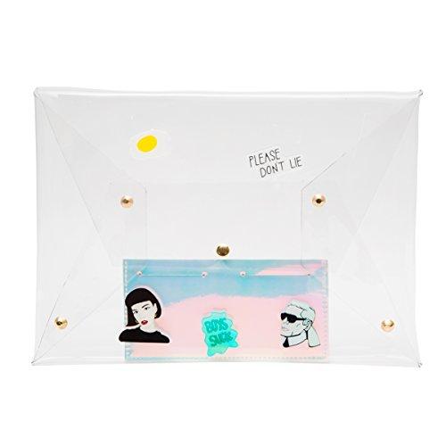 Zarapack trasparente, da donna, borsetta Clutch Hologram-IT, Style 2 with Inner Bag (Trasparente) - BA930 Style 2 with Inner Bag