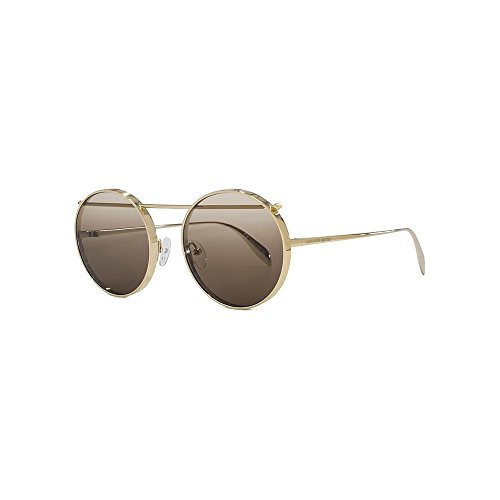 Alexander mcqueen occhiali da sole am0137s gold/brown shaded unisex