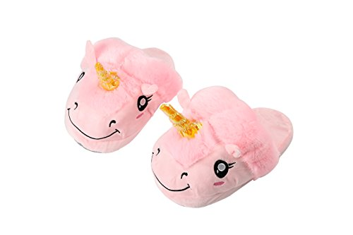 YUWELL Peluche Licorne Chaussons Unicorn Pantoufles Hiver Coton Chaussons Chaussures Adulte Rose