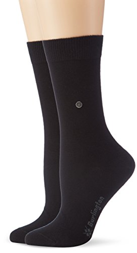 Burlington Damen Strick Socken Everyday Uni 2er Pack, Gr. 36/41, Schwarz (black 3000)