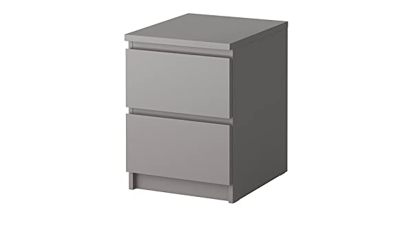 Malm Ikea Comodino.Ikea Malm Chest Of 2 Drawers Grey 40x55 Cm Amazon Co