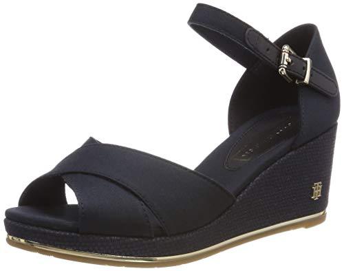 Tommy Hilfiger Damen Feminine MID Wedge Sandal Basic Plateausandalen, Blau (Midnight 403), 39 EU - Wedges Sandalen Schuhe Frauen