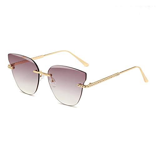 HQMGLASSES Frauen Ton Rahmenlose Cat Eye Sonnenbrille Strass Tempel Sonnenbrille UV-Schutz 400 Schutzbrille Geeignet für Freizeit/Shopping,GoldFrame/GradientGray
