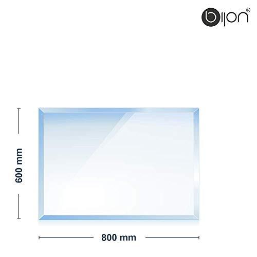 bijon® - 6mm Kamin Glasbodenplatte - Rechteck 600x800x6mm - 18mm Facette