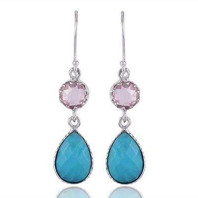 Rose Quartz, Turquoise 925 Sterling Silver Dangle Earrings