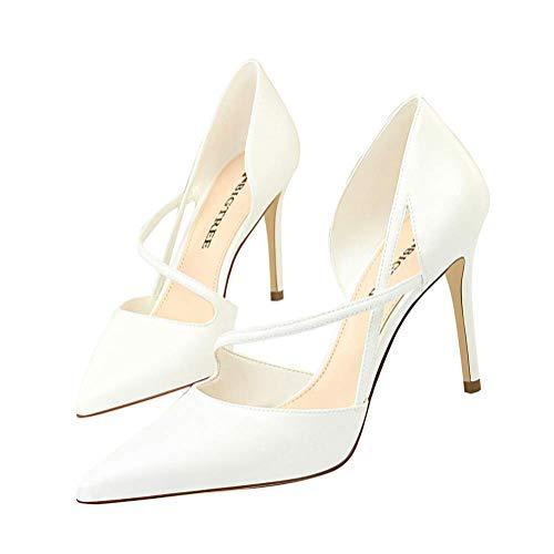 Minetom Damen High Heels Sandalen Transparente Peep Toe Sandalen Knöchel Schnalle Party Freizeit Hochzeit Abend Sommer Schuhe A Weiß 37 EU