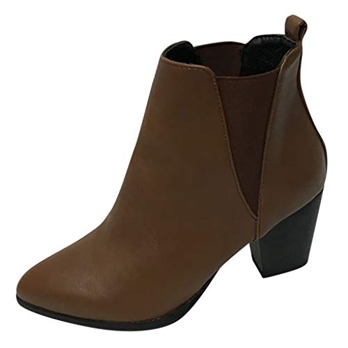 LSAltd Frauen Vintage einfarbig reißverschluss Stiefeletten Casual komfortable Dicke high Heel Single Boot