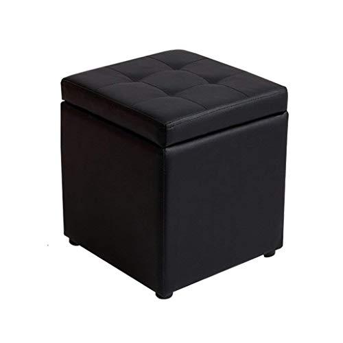 Tabouret en bois multifonctionnel de tabouret de pied avec le support carré de stockage de tabouret de repose-pieds rembourré de cuir PU pour le salon | Couloir robuste 30x30x35cm (3 couleurs) ( Couleur : Noir )