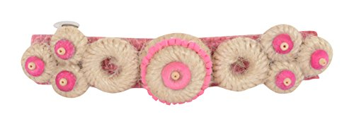 Jute Mill Pink And Brown Jute Hair Clip For Women (JutemillJewel07)