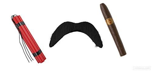 Seemeinthat Mexikanische Bandit Fake Dynamite Schnurrbart Zigarre Pablo Escobar Crimpler Dress up with Your Favorite American Western Guy