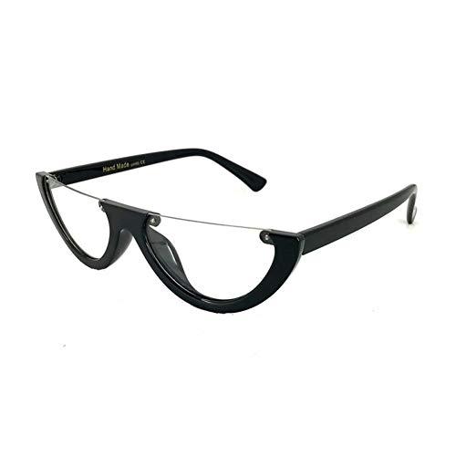 CCGKWW Einzigartige Half Frame Damen Cat Eye Sonnenbrille Markendesigner Fashion Ladies Pink Tint/Clear Lens Shades