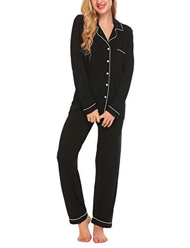 Damen Pyjama Lang mit Drawstring Zweiteiliger Schlafanzug für Damen mit Knopfleiste Langarm Soft Nachtwäsche Hausanzug Sleepwear fur Autumn/Winter, Rot 435, M (Baumwolle Gebürstete Pyjama Hose)