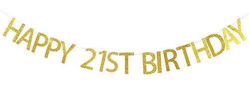 Banner Gold Glitter Party Wimpelkette-21st Birthday Party Dekorationen Supplies ()
