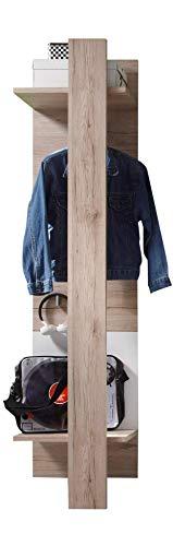 trendteam Garderobe Gardrobenpaneel Campus, 47 x 187 x 30 cm in Eiche San Remo Hell Dekor, Absetzung Weiß mit drei Kleiderhaken und Kleiderstange