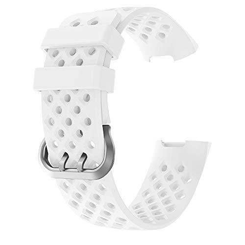 Luckhome Uhrenarmband Serie Lederarmband Ersatband Mit Edelstahl Metall Schließe Classic Armband Ersatz Band Sport atmungsaktive silikon Armband Armband für Fitbit Charge 3(Weiß)