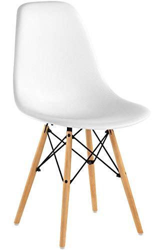 EGNM Pack 4 sillas de Comedor Blanca Silla diseño nórdico Retro Estilo...