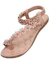 73c3177b0d663a Sandalen Damen Sommer Elegant Böhmen Blumen-Perlen Flip-Flop Schuhe Flache  Sandalen Schuhe Mode Strandschuhe Zehentrenner…