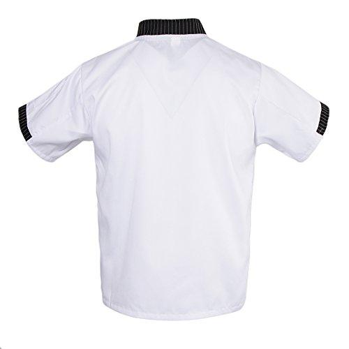 MagiDeal Damen Herren Kochjacke Bäckerjacke mit gestreiftem Stehkragen Kochkleidung Koch Küche Chef Gastronomie Berufsbekleidung - Weiß, L - 6