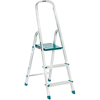 Amazon Brand - Solimo 3-Step Foldable Aluminum Ladder, rust proof and certified by European Standard EN 131