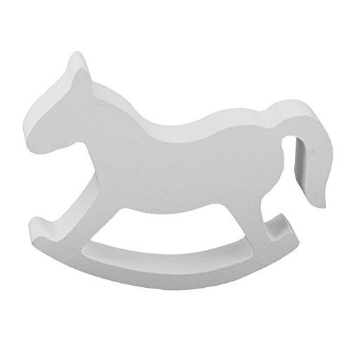 ULTNICE Kleine hölzerne Schaukelpferd Kinder Spielzeug - Weiß Kind Pferd Rocking