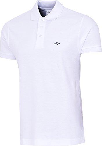 John Shark Herren T-Shirt, Logo Gr. Large, Weiß (Golf-shirt Gestickt Pique)